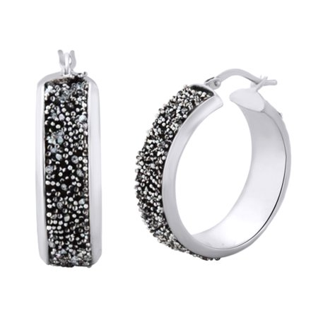 Pave Set Round Cut Simulated Black Spinel Hoop Earrings In 14K White Gold Over Sterling Silver