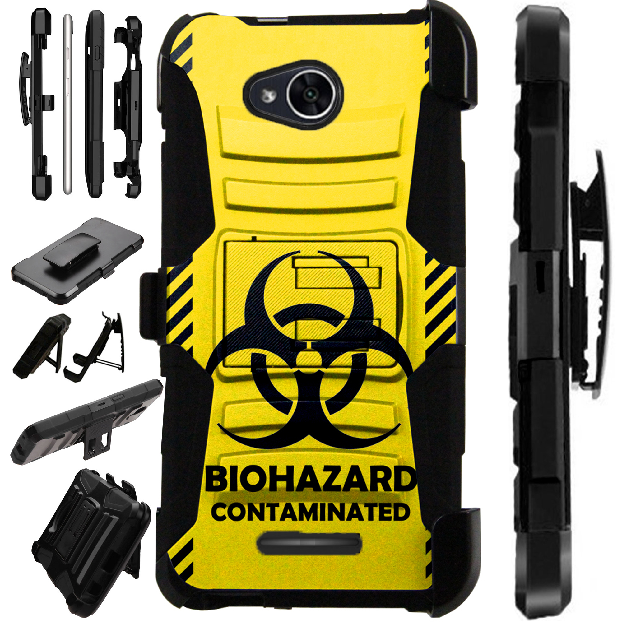 For Alcatel Tetra (2018) Case Armor Hybrid Silicone Cover Stand LuxGuard Holster (Yellow Biohazard)
