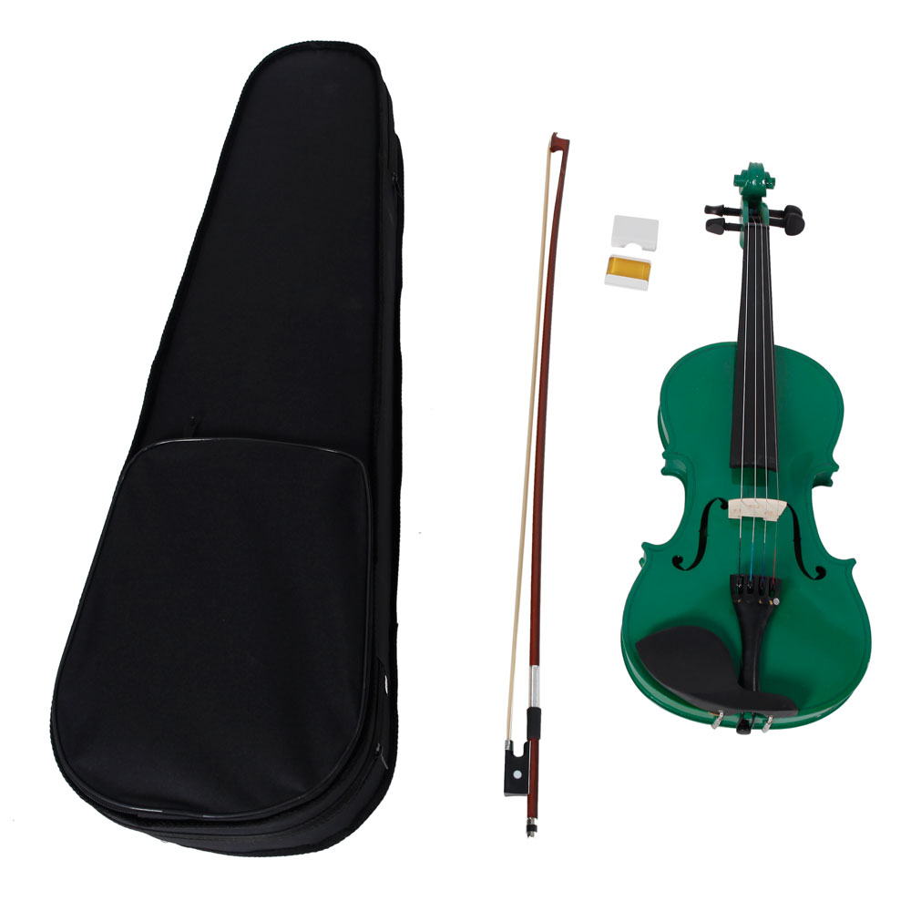 Ktaxon 4/4 Green Acoustic Violin Fiddle with Hard Case, Bow, Rosin Full Size for beginning