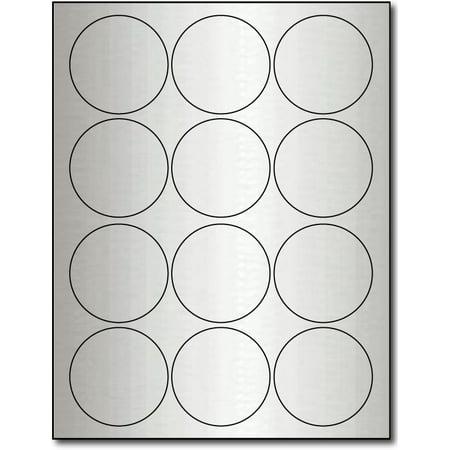 "Silver Foil 2 1/2"" Round Labels for Laser Printers - 10 Sheets / 120 Labels"