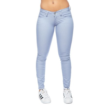 Blue Stretch Pants - Womens Solid Basic Stretch Kiw Rise Skinny Pants P485588-1-Blue