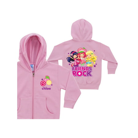 Personalized Strawberry Shortcake Friends Rock Pink Toddler Zip-up Hoodie