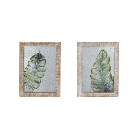 - Decmode Natural 16 Inch Rectangular Palm Leaf Galvanized Wall Art - Set Of 2