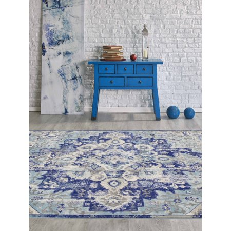 CLASSIC Traditional Floral Oriental Bohemian Distressed 5x8 5x7 Area Rug 6334 Blue Turquoise - A1 Oriental