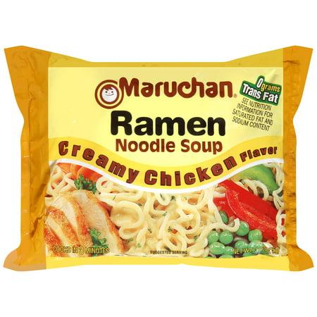 Instant Noodle Soup - (24 Packs) Maruchan Creamy Chicken Instant Ramen, 3 oz