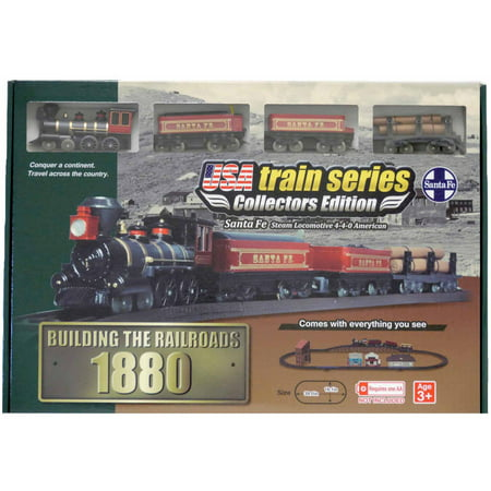 Train Set Santa - LEC USA 1880 Santa Fe Steam Locomotive 4-4-0 American Battery Operated Train Set
