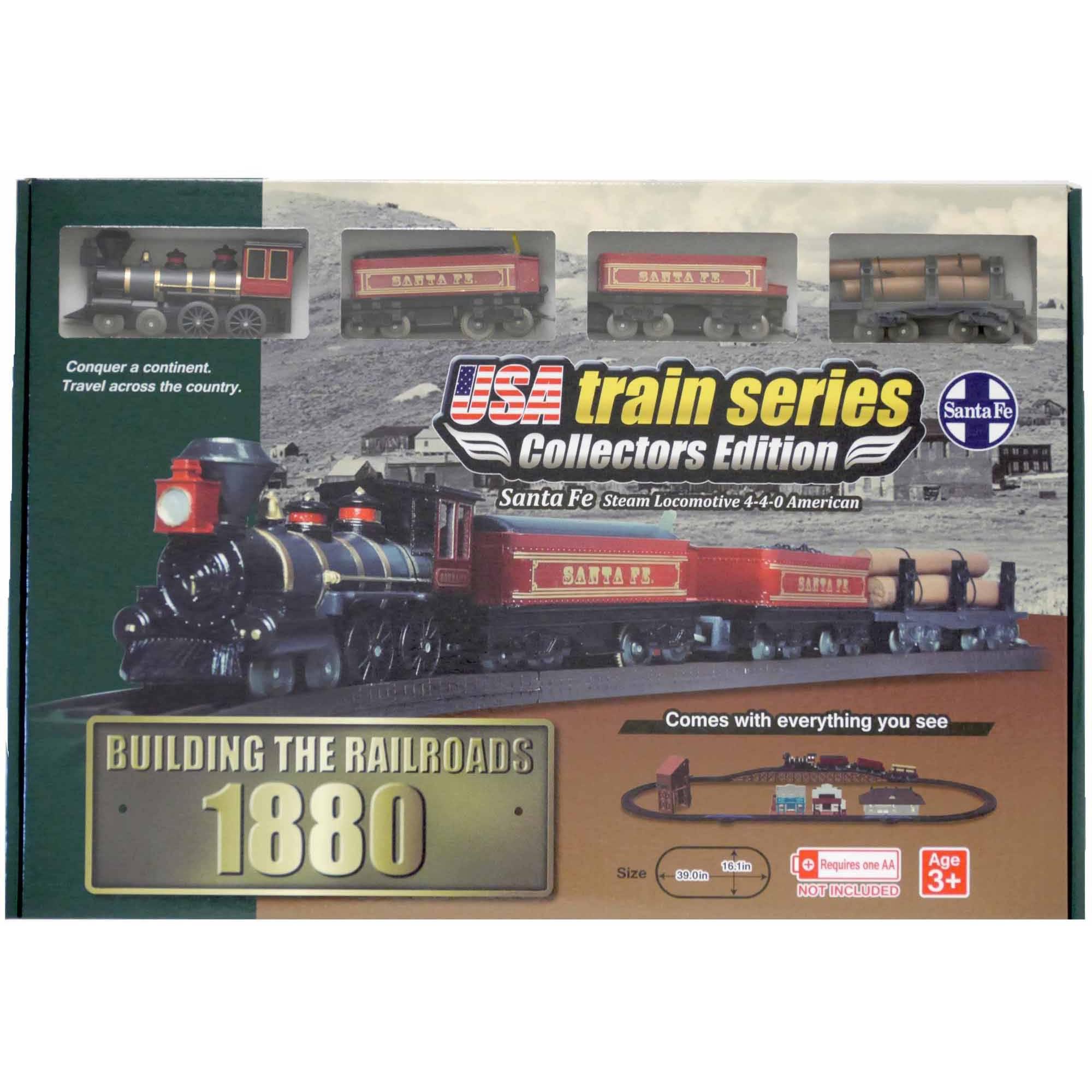 LEC USA 1880 Santa Fe Steam Locomotive 4-4-0 American Battery Operated Train Set
