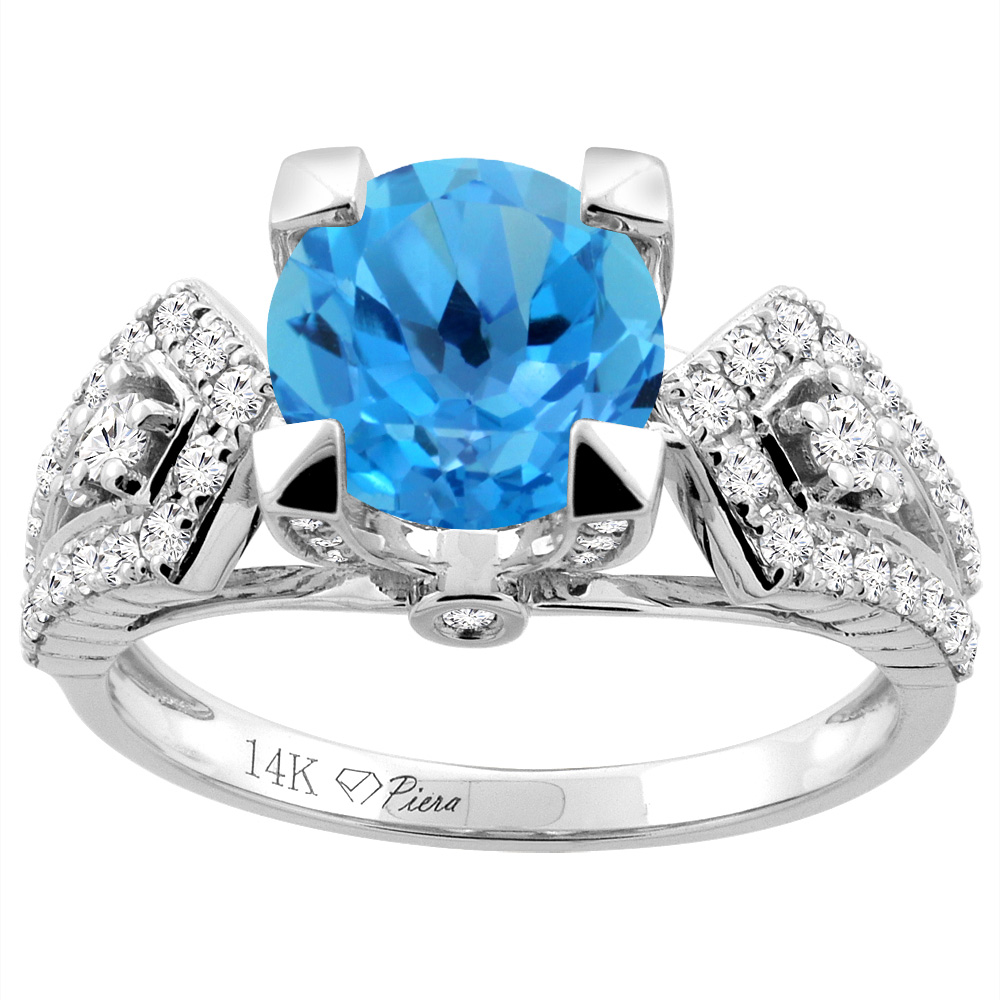 14K White Gold Natural Swiss Blue Topaz Ring Round 7 mm Diamond Accents, size 5 by Gabriella Gold