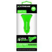 Xtreme Cables 81435 3 Port 4 Amp Car Charger - Green