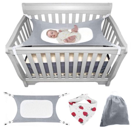 Baby Hammock Crib (Baby Hammock for Crib, Mimics Womb, Double-Layer Breathable Supportive Mesh Strong Material Upgraded Safety Measures Infant Nursery Travel Bed (Gift Bag) (Gray) )