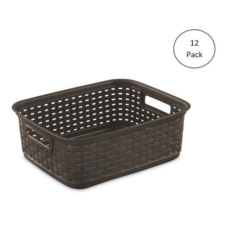 - Sterilite Decorative Wicker-Style Weave Basket, Espresso | 12726P06 (12 Pack)