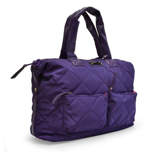 Adrienne Vittadini Medium Quilted Nylon Duffle Purple