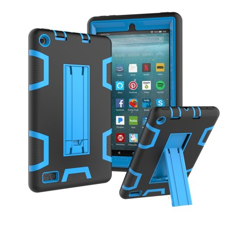 For Amazon Fire 7 Inch Tablet  7Th Generation  Case  Kindle Fire 7 2017 Case  Uucovers 3 In 1 Hybrid Armor Shockproof Full Body Protective Kickstand Kids Case  Black   Blue