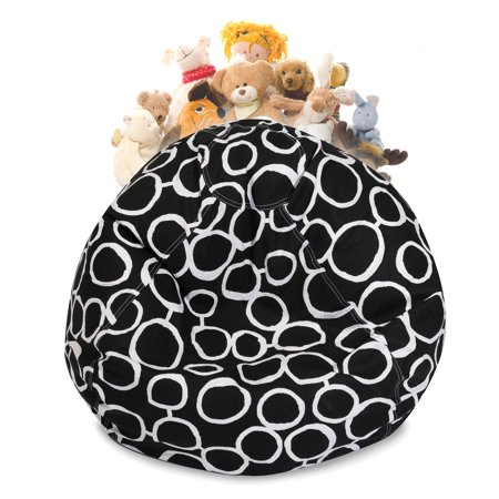 Majestic Home Goods Fusion Stuffed Animal Storage Bean Bag Chair Cover w/ Transparent Mesh Base, Multiple Colors ()