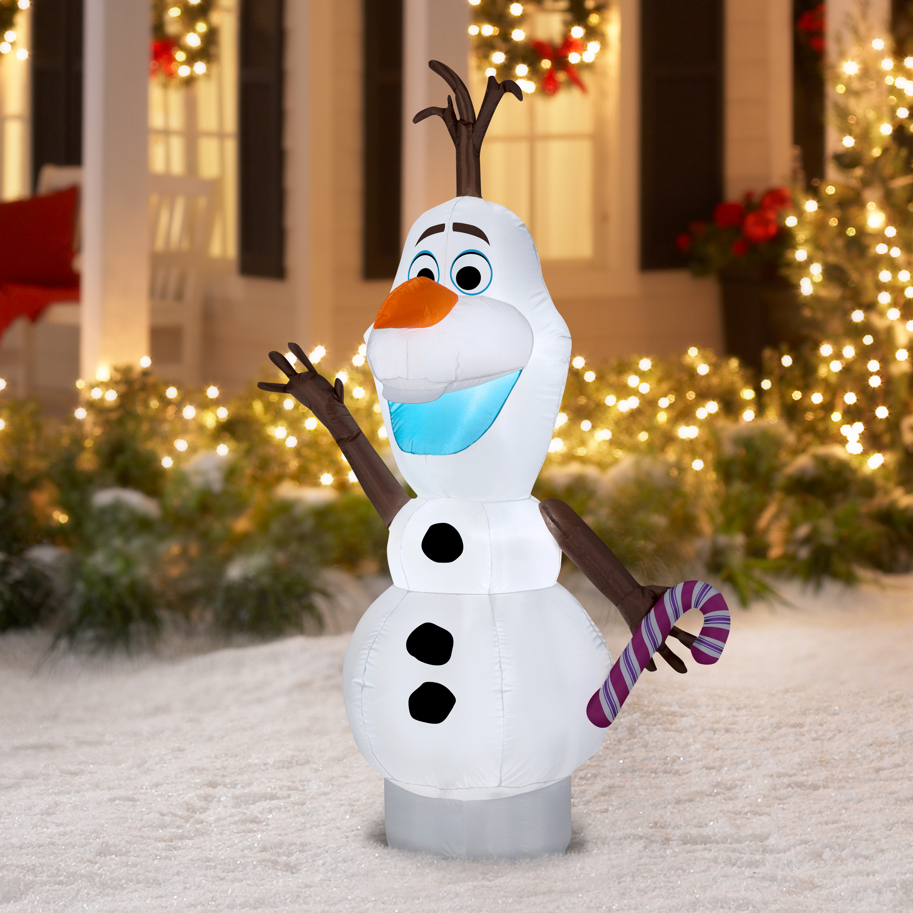 Inflatable Olaf w/ Candy Cane 5.5 Feet Tall Christmas Frozen Outdoor ...