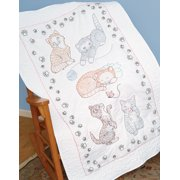 "Stamped White Lap Quilt Top, 40"" x 60"", Kitty Cats"