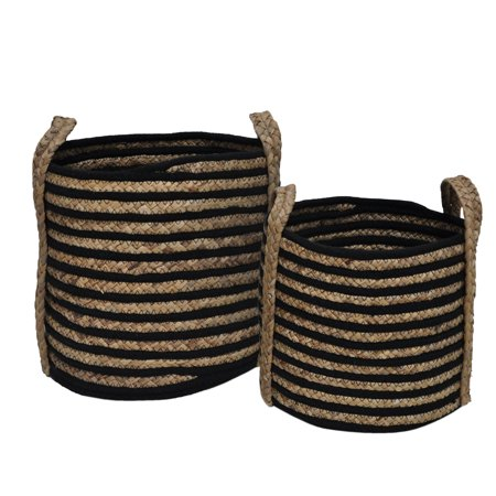 - Mainstays Round Stripe Cotton Rope and Seagrass Basket, Set of 2, Natural and Black