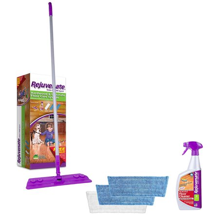 Hardwood and Laminate Floor Cleaning Mop Kit 5-Piece, Easy to use floor cleaning kit includes a 32-Ounce bottle of no bucket floor cleaner, 2 reusable Microfiber.., By