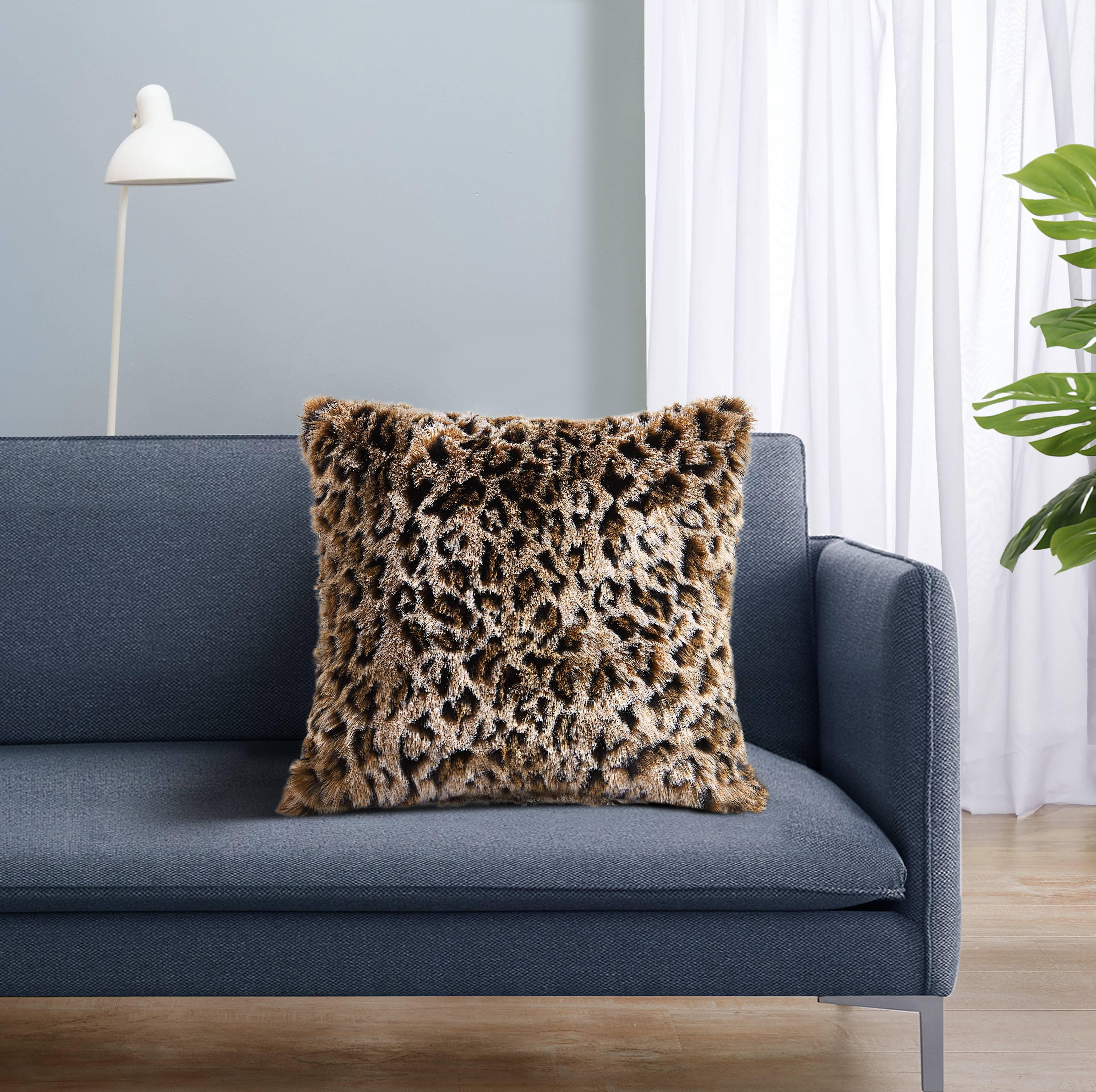 Mainstays Leopard Faux Fur Decorative Pillow