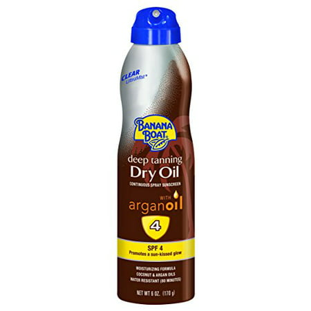 Deep Tanning Dry Oil - Banana Boat UltraMist Deep Tanning Dry Oil Continuous Clear Spray SPF 4 Sunscreen, 6 oz (Pack of 3)