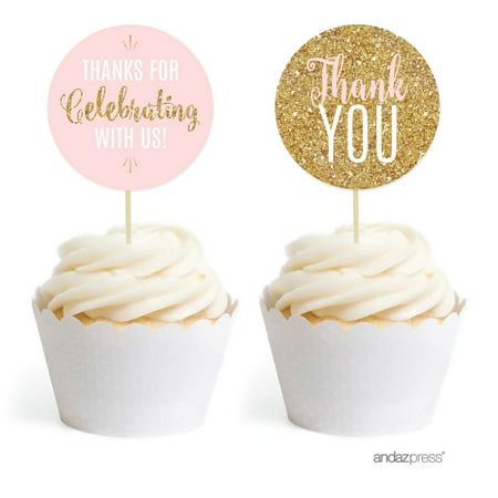 Signature Blush Pink, White, Gold Glittering Party Collection, Round Cupcake Toppers, 20-Pack (Steelers Cupcake Toppers)
