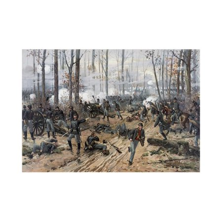 Civil War Painting of Union and Confederate Troops at the Battle of Shiloh Laminated Print Wall Art By Stocktrek Images (Civil War Paintings)