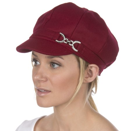 Sakkas Jessica Wool Newsboy Cabbie Hat - Burgundy - One Size - Black Cabbie Hat