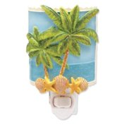 Coastal Palm Trees Against Ocean With Starfish Shells Sculpted Resin Night Light