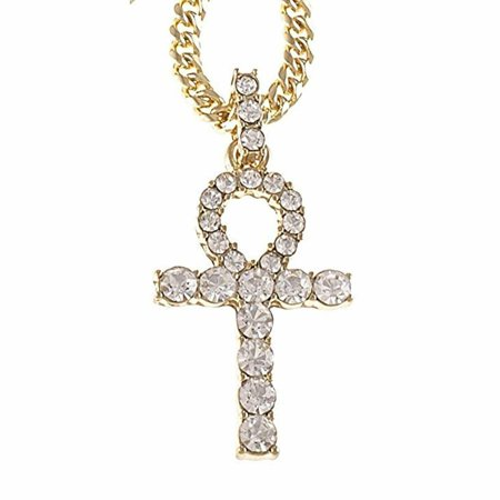 Iced Out Simulated Diamond Gold Plated Ankh Cross Pendant w/Cuban Chain (Gold,20 Inch)