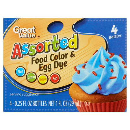 (2 pack) Great Value Assorted Food Color & Egg Dye, 0.25 fl oz, 4 (Best Color For Food)