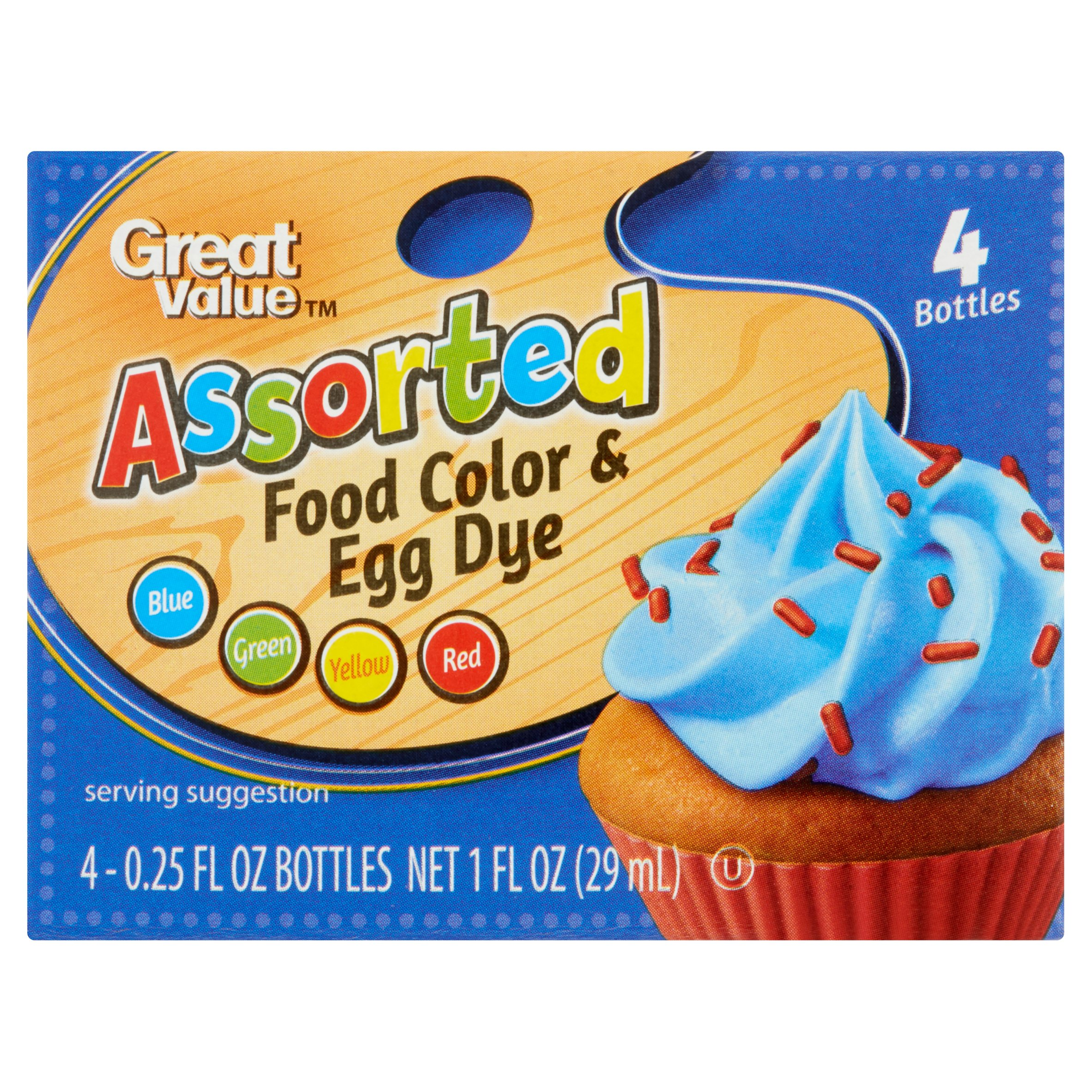 (2 pack) Great Value Assorted Food Color & Egg Dye, 0.25 fl oz, 4 count