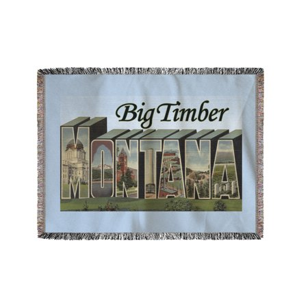 Big Timber, Montana - Large Letter Scenes (60x80 Woven Chenille Yarn Blanket) (Big Toy Store Scene)