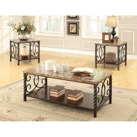 Coaster Furniture 3 Piece Marble Top Coffee Table Set - Dark Brown ...