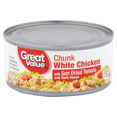 (3 Pack) Great Value Sun Dried Tomato & Herb Chunk White Chicken, 10 oz