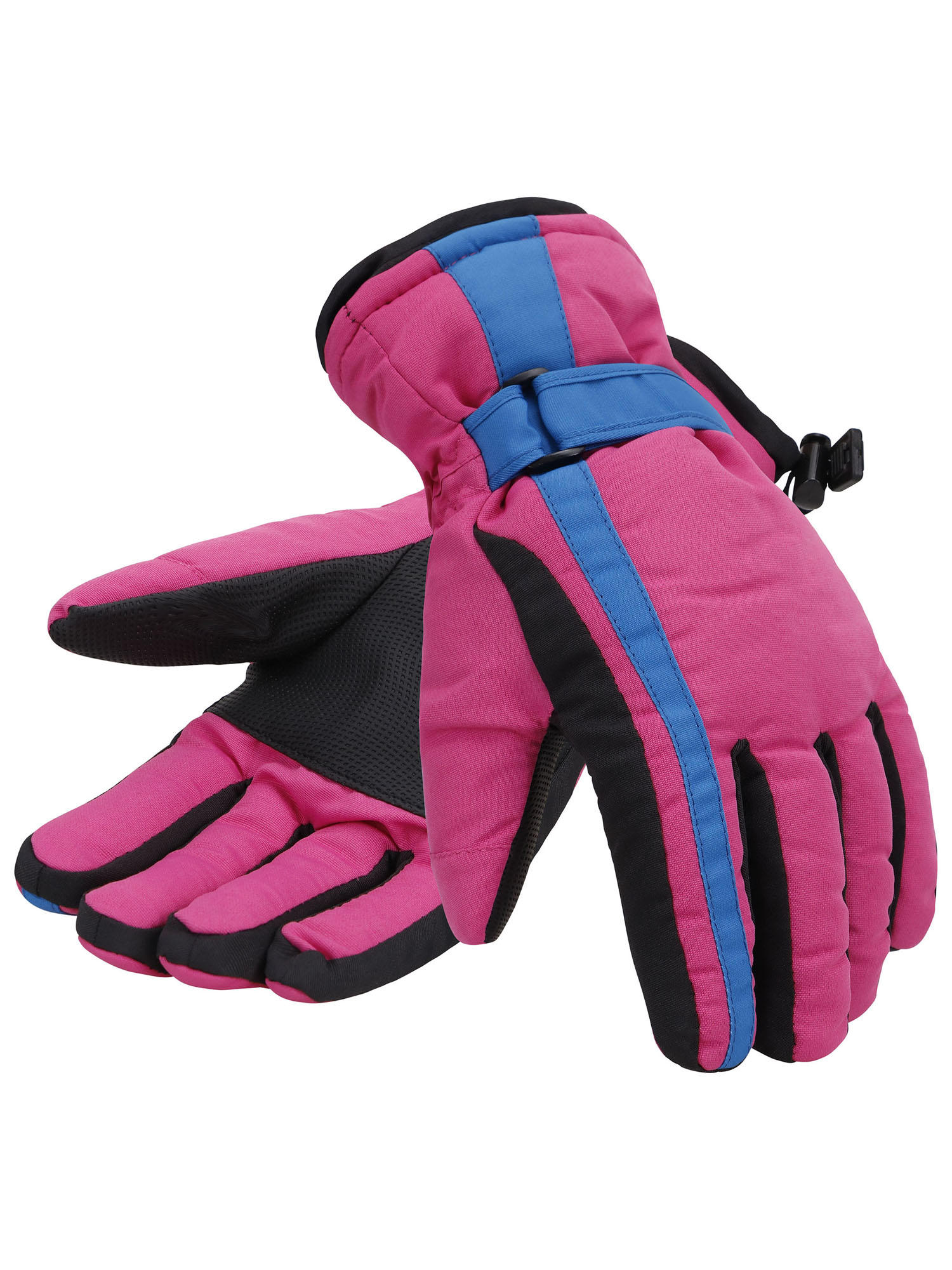 Women 3M Thinsulate Lined Waterproof Ski Gloves,S,Pink Blue