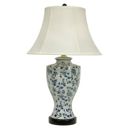 Oriental Furniture Blue and White Flower Vine Table Lamp - Oriental Table Lamps