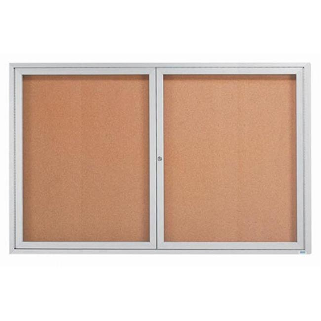 Aarco Products DCC4872RI Illuminated Enclosed Bulletin Board - Clear Satin Anodized