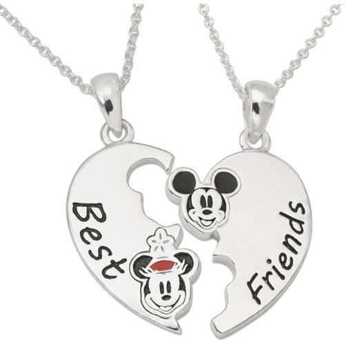 """Disney Mickey Mouse Silver-Plated Best Friends Pendants Set , 18"""" chain"""