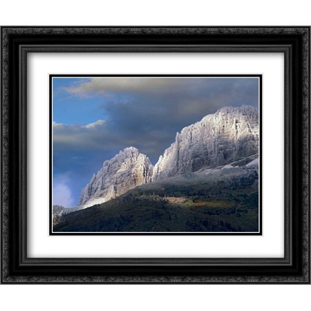 Snow dusted mountains, Glacier National Park, Montana 2x Matted 24x20 Black Ornate Framed Art Print by Fitzharris,