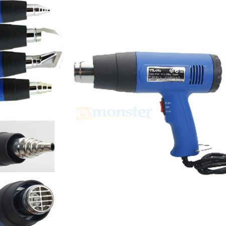 al Temperature Heat Gun with Accessories Shrink Wrapping 4 Nozzles (Variable Temperature Electronic Heat Gun)