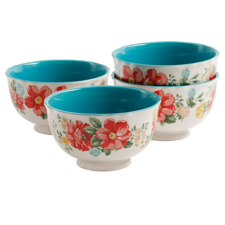 The Pioneer Woman Vintage Floral 4-Piece Footed Bowl Set