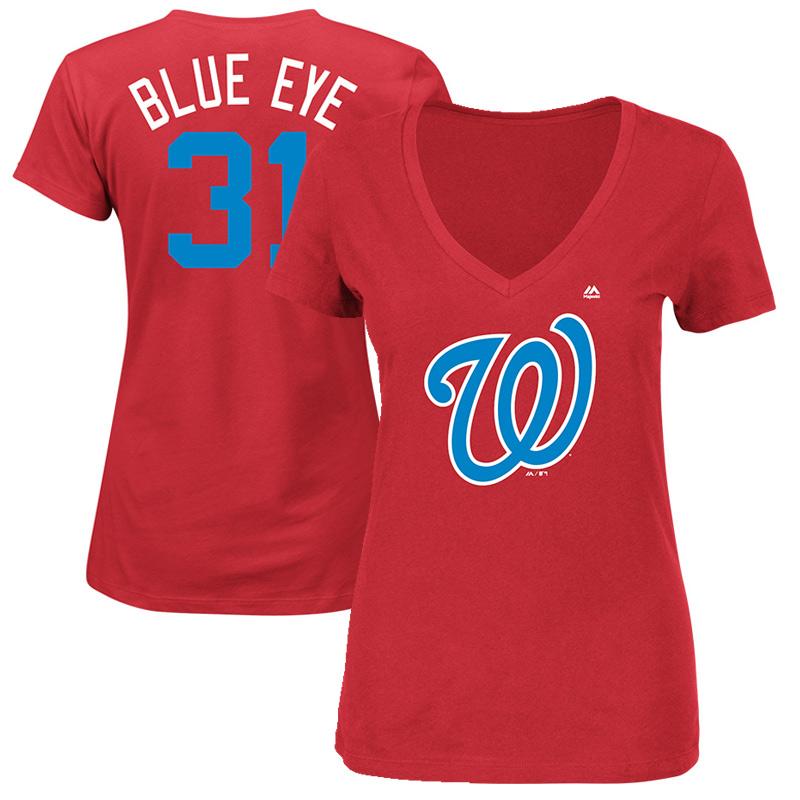 "Women's Majestic Max Scherzer ""Blue Eye"" Navy Washington Nationals 2017 Players Weekend Name & Number T-Shirt"