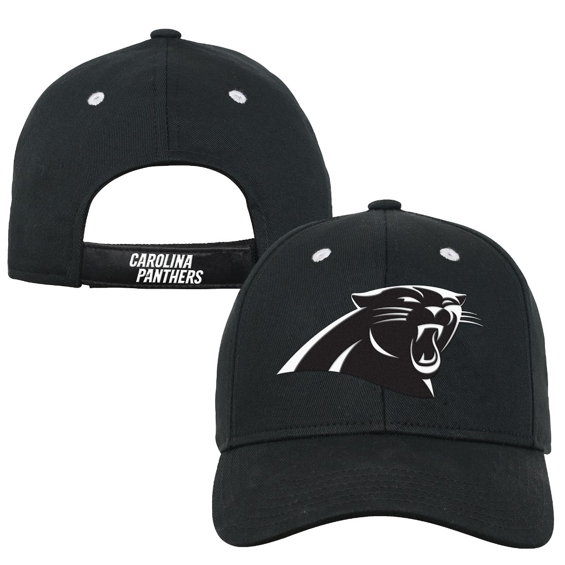 reputable site 16ebe 93f01 ... norway product image carolina panthers youth nfl black white structured  adjustable hat 537cc 24455