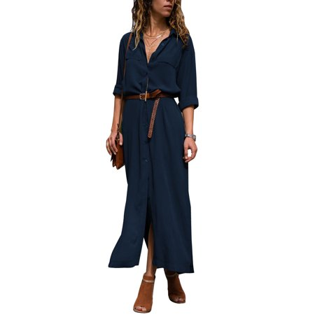 Button Shirt Dresses for Women Maxi Long Sleeve Casual Loose Boho Tea Dress Lapel V Neck Side Split Sun Dress