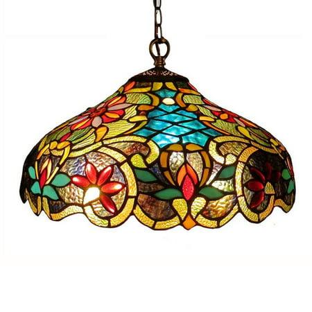 Chloe Lighting Leslie Tiffany Style Victorian 2 Light Ceiling Pendant Fixture 18 Shade