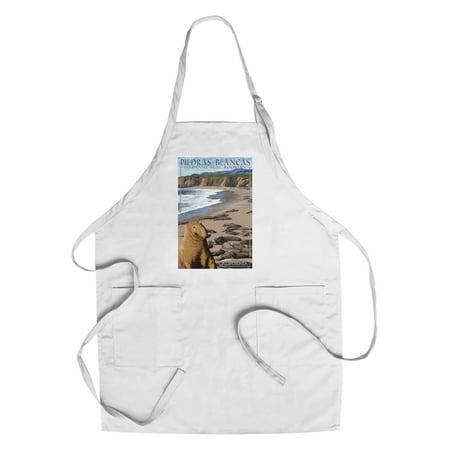 Piedras Blancas Elephant Seal Rookery - California - Lantern Press Poster (Cotton/Polyester Chef