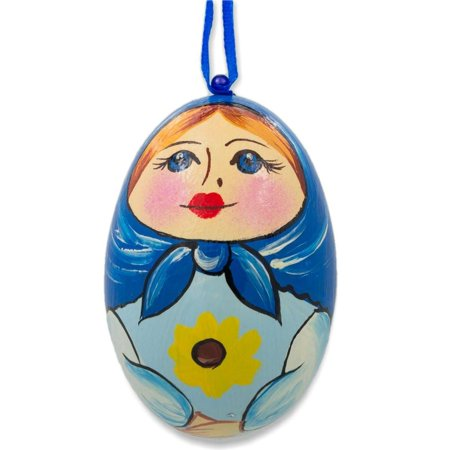 Russian Nesting Doll Matryoshka Blue Scarf Wooden Egg Ornament 3 Inches (Russian Nesting Egg)