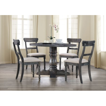 - Best Master Furniture Selena Round 5-Piece Dinette Set, Weathered Gray