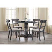 Best Master Furniture Selena Round 5-Piece Dinette Set, Weathered Gray
