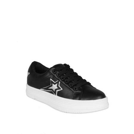 Black Platform Allure Shoes (Nature Breeze Star Women's Platform Sneakers in Black )